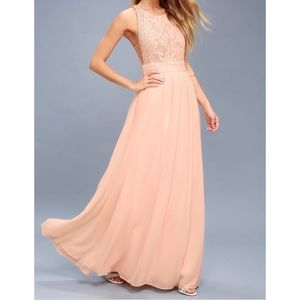 Forever & Always Blush Pink Lace Bridesmaid Dress